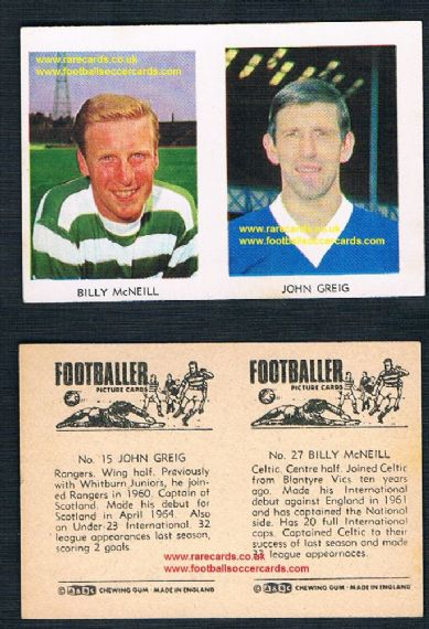 1966 A&BC Scottish pair Billy McNeil 27 Celtic and John Greig Rangers 15